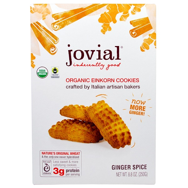 Jovial, Organic Einkorn Cookies, Ginger Spice, 8.8 oz (250 g)