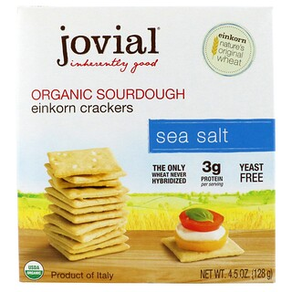 Jovial, Organic Sourdough Einkorn Crackers, Sea Salt, 4.5 oz (128 g)