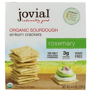 Jovial, Organic Sourdough Einkorn Crackers, Rosemary, 4.5 oz (128 g)