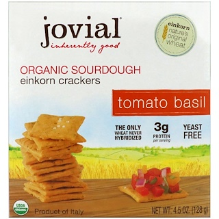Jovial, عجينة سردوغ مقرمشات إينكورن، الطماطم مع الحبق، 4.5 أوقية (128 غرام)