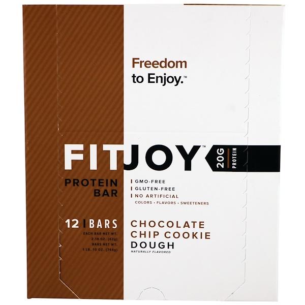 FITJOY, Protein Bar, Chocolate Chip Cookie Dough, 12 Bars, 2.18 oz (62 g) Each