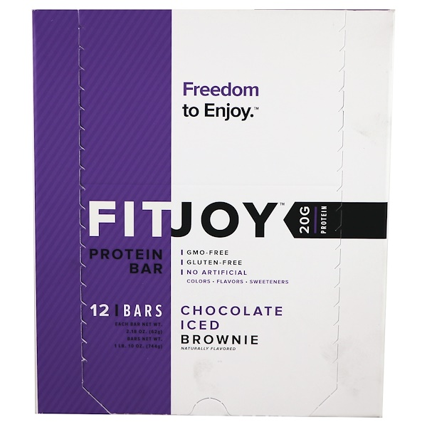 FITJOY, Protein Bar, Chocolate Iced Brownie, 12 Bars, 2.18 oz (62 g) Each