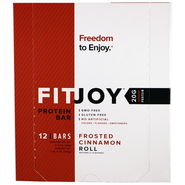FITJOY, Protein Bar, Frosted Cinnamon Roll, 12 Bars, 2.11 oz (60 g) Each (Discontinued Item)