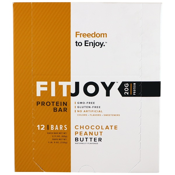 FITJOY, Protein Bar, Chocolate Peanut Butter, 12 Bars, 2.11 oz (60 g) Each (Discontinued Item)
