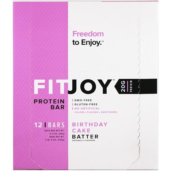 FITJOY, Protein Bar, Birthday Cake Batter, 12 Bars, 2.11 oz (60 g) Each
