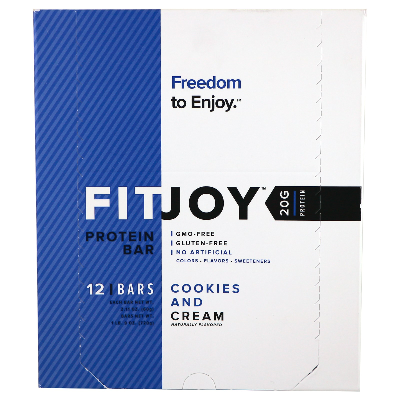 FITJOY, Protein Bar, Cookies and Cream, 2.11 oz (60 g) Each