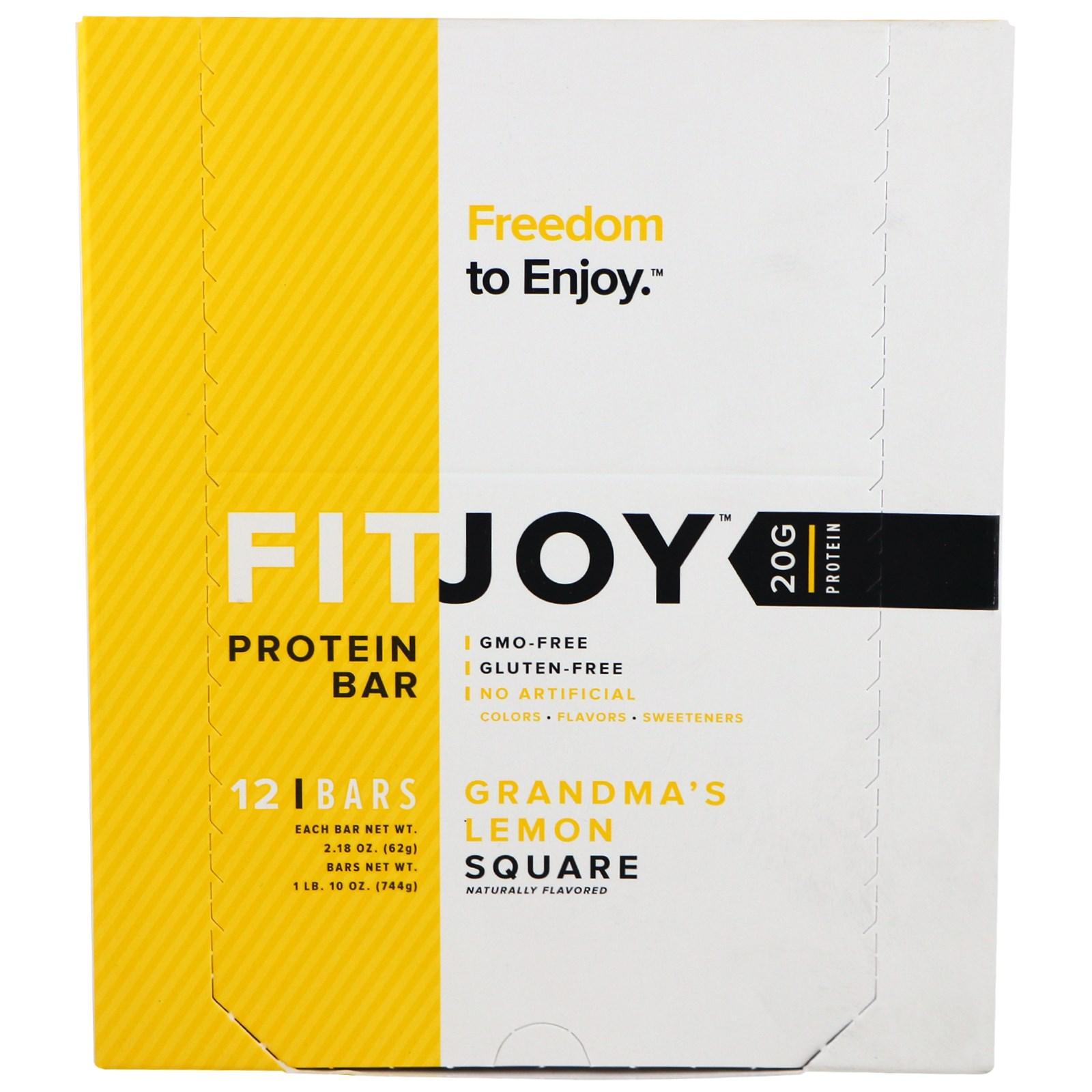FITJOY, Протеиновый батончик, Бабушкин лимонный пирог, 12 батончиков, 2,18 унции (62 г) каждый