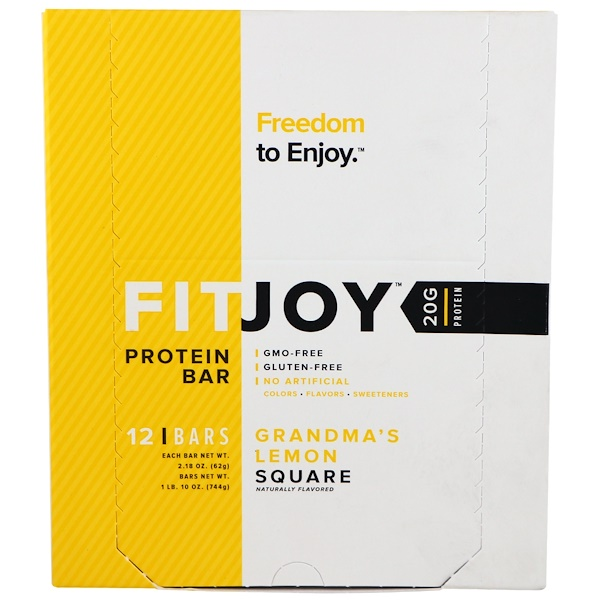 FITJOY, Protein Bar, Grandma's Lemon Square, 12 Bars, 2.18 oz (62 g) Each
