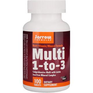 Jarrow Formulas, Multi 1-to-3, with Lutein, Iron-Free, 100 Tablets