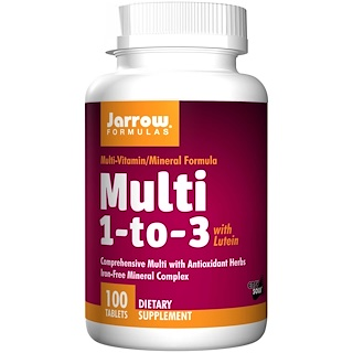 Jarrow Formulas, Multi 1-to-3, with Lutein, Iron-Free, 100 Tablets