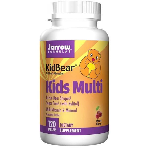 Jarrow Formulas, KidBear, Kids Multi, Multi-Vitamin & Mineral, Children's Chewable, Cherry Flavor, 120 Tablets (Discontinued Item)
