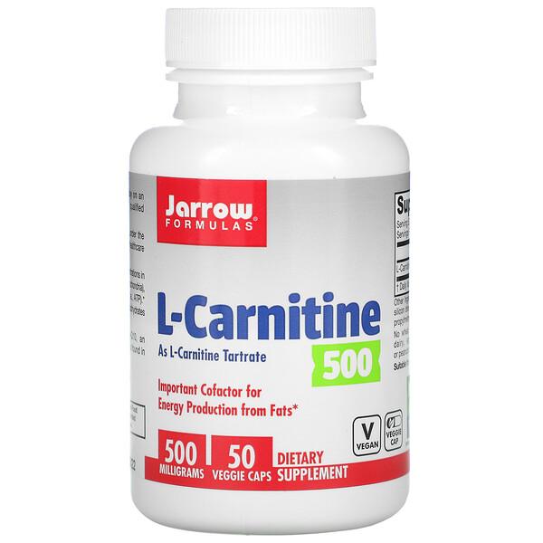 L-carnitina 500, Suplemento alimentario, 500mg, 50cápsulas vegetales