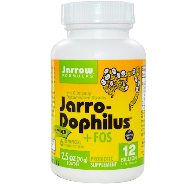 Jarrow Formulas, Jarro-Dophilus + FOS Powder, 12 Billion per gram, 2.5 oz, (70 g), (Ice) (Discontinued Item)