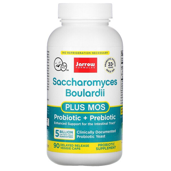Jarrow Formulas, Saccharomyces Boulardii Plus MOS, 5 Billion, 90 Delayed Release Veggie Caps