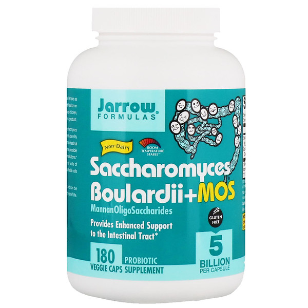 Jarrow Formulas, Saccharomyces Boulardii + MOS, 5 Billion, 180 Veggie Caps