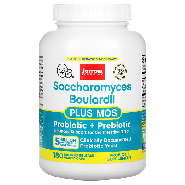 Jarrow Formulas, Saccharomyces Boulardii Plus MOS, 5 Billion, 180 Delayed Release Veggie Caps