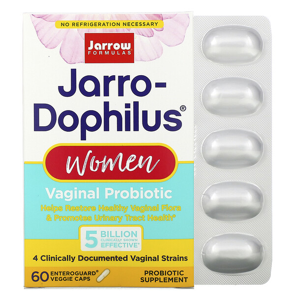 Jarrow Formulas, Jarro-Dophilus Women, Vaginal Probiotic, 5 Billion, 60 Enteroguard Veggie Caps