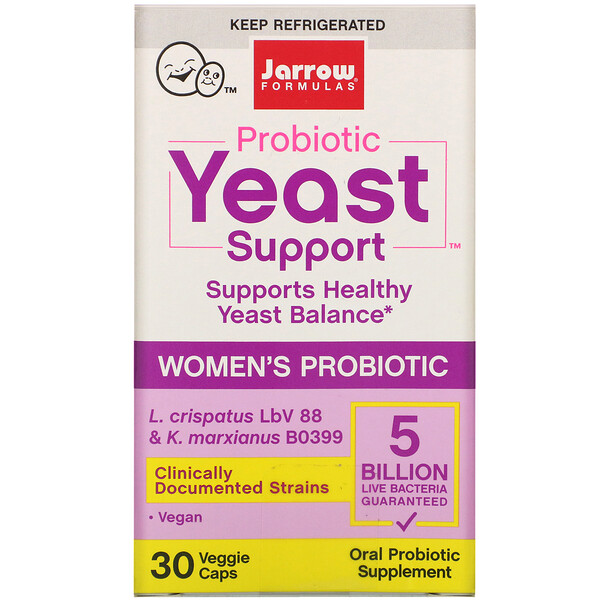 Jarrow Formulas, Probiotic Yeast Support, Women's Probiotic, 5 Billion, 30 Veggie Caps