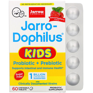 Jarrow Formulas, Jarro-Dophilus Kids, Probiotic + Prebiotic, Sugar Free, Natural Raspberry Flavor, 1 Billion Live Bacteria, 60 Chewable Tablets'