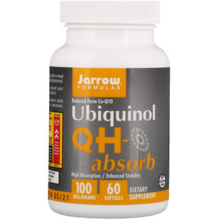 Jarrow Formulas, Ubiquinol Absorção QH, 100 mg, 60 Softgels