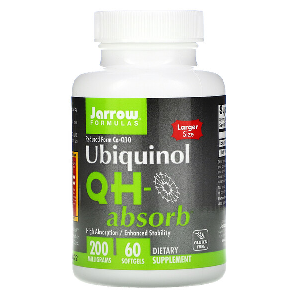 Jarrow Formulas, Ubiquinol, QH-Absorb, 200 mg, 60 Cápsulas Softgel