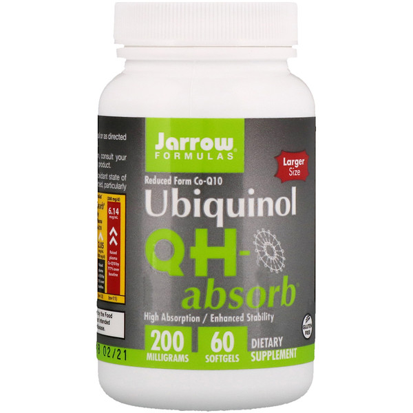 "Jarrow Formulas, אוביקינול, QH-Absorb, 200 מ""ג, 60 טבליות ג'ל"