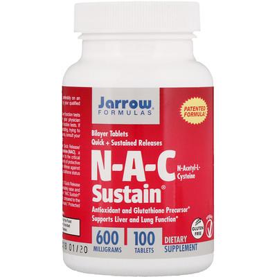 N-A-C Sustain, N-ацетил-L-цистеин, 600 мг, 100 таблеток n a c n ацетил l цистеин 500 мг 100 вегетерианских капсул