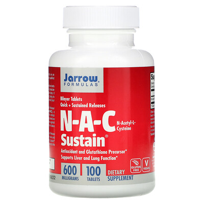 Jarrow Formulas N-A-C Sustain, N-ацетил-L-цистеин, 600 мг, 100 таблеток