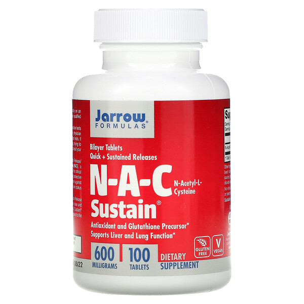 N-A-C Sustain, N-Acetyl-L-Cysteine, 600 mg, 100 Tablets