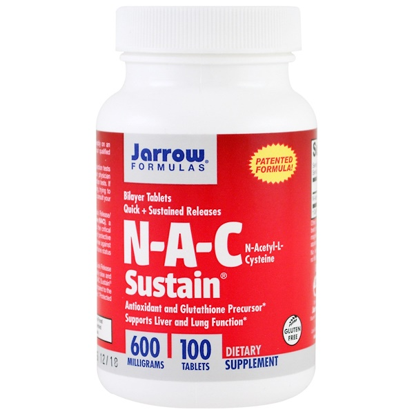 Jarrow Formulas, N-A-C Sustain®(N-A-C サステイン)、N-アセチル-L-システイン、600 mg, 100 錠