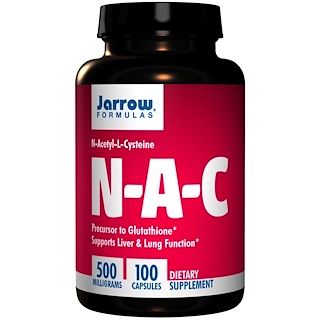 Jarrow Formulas, N-A-C, N-Acetyl-L-Cysteine, 500 mg, 100 Capsules