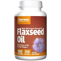 Jarrow Formulas, Organic, Flaxseed Oil, 1000 mg, 200 Softgels
