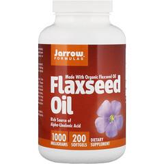 Jarrow Formulas, Organic, Flaxseed Oil, 1,000 mg, 200 Softgels