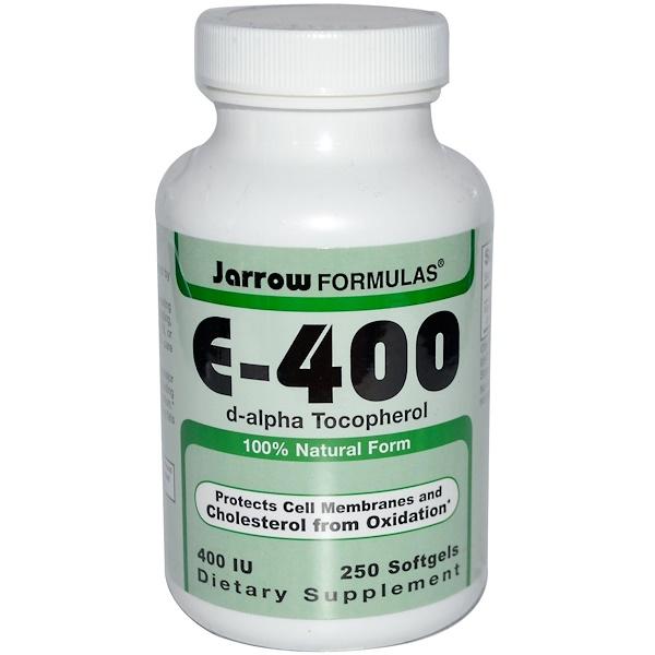 Jarrow Formulas, E-400, d-alpha Tocopherol, 400 IU, 250 Softgels (Discontinued Item)