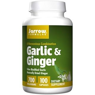 Jarrow Formulas, Ajo y jengibre, 700 mg, 100 Cápsulas