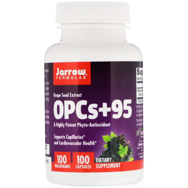 Jarrow Formulas, OPCs + 95, Grape Seed Extract, 100 mg, 100 Capsules
