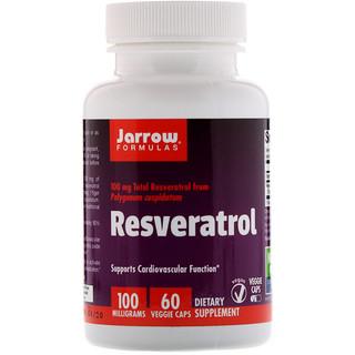 Jarrow Formulas, Resveratrol, 100 mg, 60 Cápsulas Vegetais