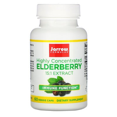 Jarrow Formulas Elderberry Extract, Highly Concentrated, 60 Veggie Caps