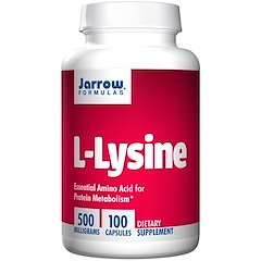 Jarrow Formulas, L-リジン、500 mg、100カプセル