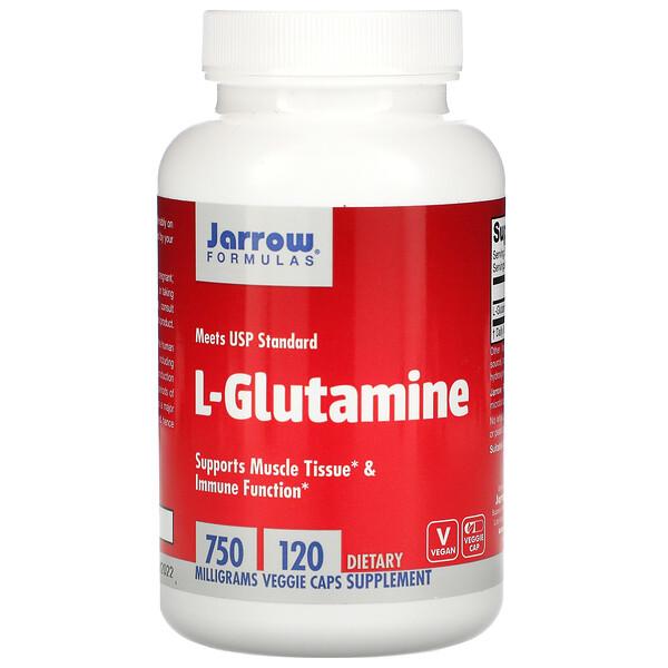 L-グルタミン、750mg、植物性カプセル120粒