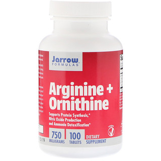 Jarrow Formulas, Arginine + Ornithine, 750 mg, 100 comprimés