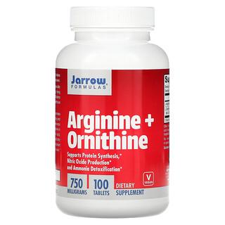 Jarrow Formulas, Arginina + Ornitina, 750 mg, 100 tabletas de fácil absorción