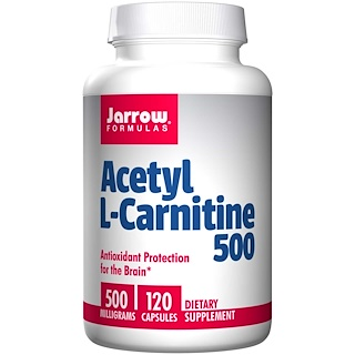 Jarrow Formulas, Acetil L-Carnitina 500, 500 mg, 120 cápsulas
