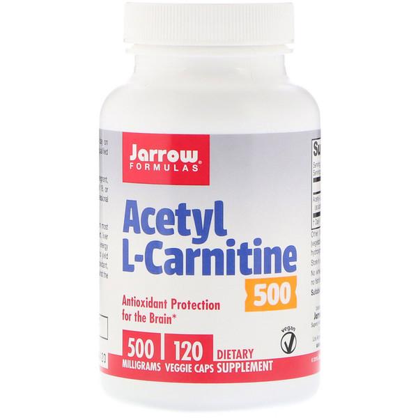 Jarrow Formulas, Ацетил L-карнитин 500, 500 гм, 120 растительных капсул