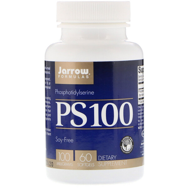 "Jarrow Formulas, PS100, פוספטידילסרין, 100 מ""ג, 60 כמוסות ג'ל"