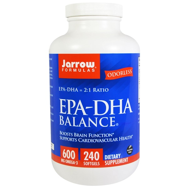 保健品EFA,歐米茄3 6 9(EPA DHA)魚油:Jarrow Formulas, EPA-DHA平衡膠囊, 240粒