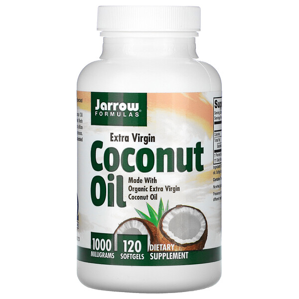 Jarrow Formulas, Coconut Oil, Extra Virgin, 1,000 mg, 120 Softgels