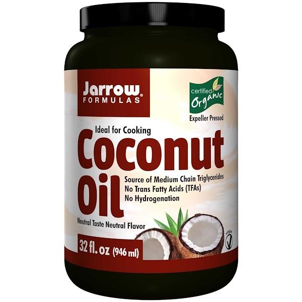 Jarrow Formulas, 유기농 코코넛 오일, 착유기를 누르면, 32 oz (908g)