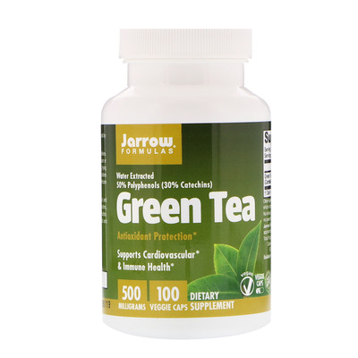 Зелёный чай, 500 мг, 100 растительных капсул недорого