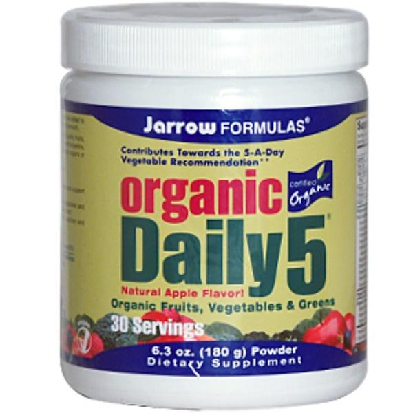 Jarrow Formulas, Organic Daily 5, Natural Apple Flavor, 6.3 oz (180 g) Powder (Discontinued Item)